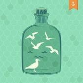Seagulls in a bottle — Stock Vector