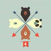 Pattern of bears with arrows — Stock Vector