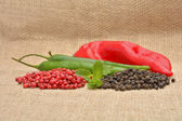 Red hot chili pepper on the jute gunny bag — Stock Photo
