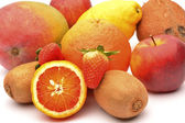 Exotic fruits on white background — Stock Photo