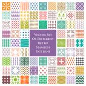 Set of different retro seamless patterns in color — Stock Vector