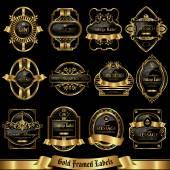 Gold framed labels set 9 — Stock Vector