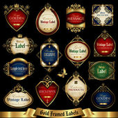 Gold framed labels set 12 — Stock Vector