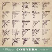Vector set of vintage corners — Stock Vector