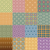 Vector set of  retro seamless patterns in color — Stock Vector