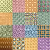 Vektor uppsättning retro seamless mönster i färg — Stockvektor