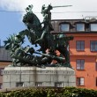 Sweden. Stockholm. Sculpture of St. George the Victorious striking sword dragon. — Stock Photo #53611757