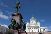Finland. Helsinki. Senate Square. Monument to Alexander II — Stock Photo