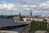 View of Stockholm from the lookout Katarina Hiss. Sweden — Stock Photo