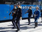 Changing of the guard near the Royal Palace. Sweden. Stockholm. — Stock Photo