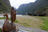 The figure of a viking boat carved from wood. Gudvangen. Norway — Stock Photo