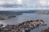 ノルウェー。マウントからベルゲン景色フレイします。. — ストック写真