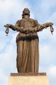 "The figure of ""Motherland"". Piskarevskoe Memorial Cemetery. Saint Petersburg. Russia. — Stock Photo"