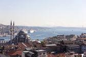 View of the New Mosque, the Bosphorus Bridge and Atatürk. Istanbul. Turkey. — Stock Photo