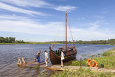 LYUBSHA, RUSSIA - JULY 04, 2015: Photo of Boat on the river Volkhov on a Festival Ladogafest. — Photo