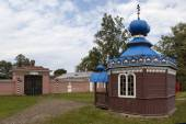Chapel of Saints Cosmas and Damian in the House stationmaster. Expression. Leningrad region. Russia. — Stockfoto