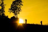 Silhouette and sunrises. — Stock Photo