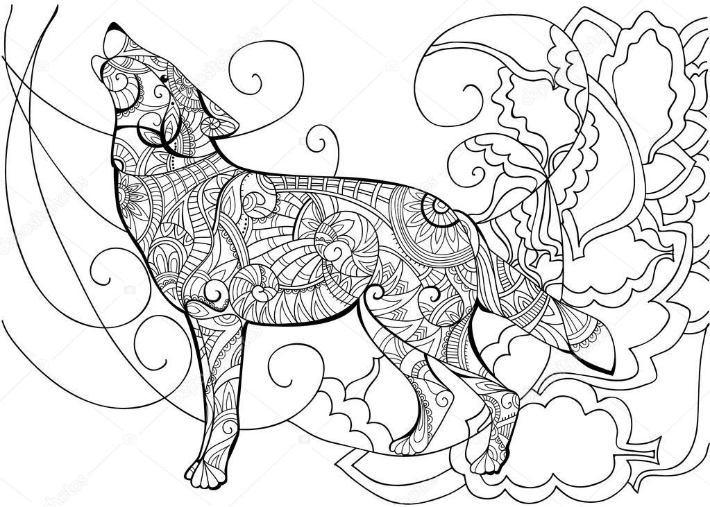 kleurplaat met wolf stockvector 169 102818658