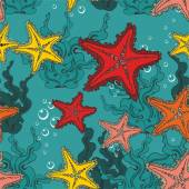 Pattern with starfishes — Stock Vector
