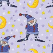 Pattern with the gnome and the moon. — Stock Vector