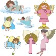 Set of Christmas angels — Stock Vector #54939071