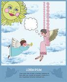 Cartão para o texto com os anjos. — Vetorial Stock