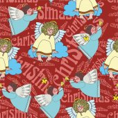 Christmas pattern with angels — 图库矢量图片