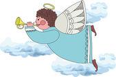 Engel spelen op een pijp — Stockvector