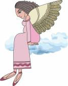 Angel sitting on a cloud. — Stock Vector