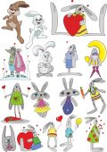 Large set of rabbits. — Stockvektor
