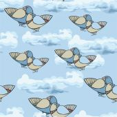 Pattern with a bird flying in the clouds. — Stock Vector