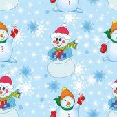 Patrón con muñecos de nieve y copos de nieve. — Vector de stock