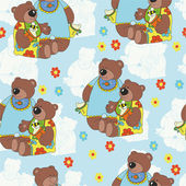 Pattern with teddy bears and flowers. — Stock Vector