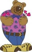 Nallebjörn med hjärtan. — Stockvektor