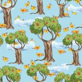 Fruit trees and birds pattern — Wektor stockowy