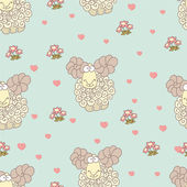 Pattern with sheep and hearts — Stock Vector