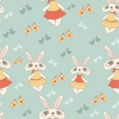 Pattern with rabbits and birds — Cтоковый вектор