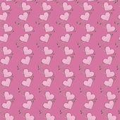 Corazones sobre un fondo rosa — Vector de stock