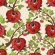 Cartton pattern with apples and tree branches — Vetor de Stock  #62147579