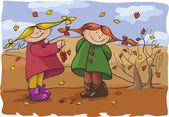 Girls in the autumn background — Stockvektor