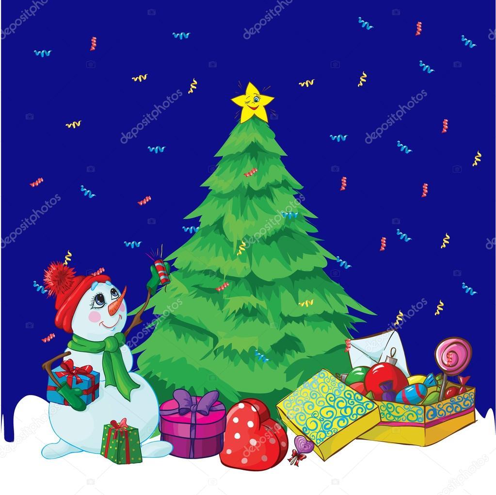 Dibujos animados con rbol de navidad y un mu eco de nieve - Arbol navidad nieve ...