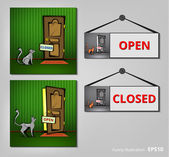 Signs Open and Closed. — Stock Vector