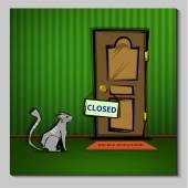 Cat at the closed door — Stock Vector