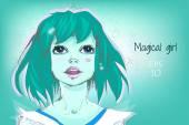 Bella ragazza con i capelli blu — Vettoriale Stock