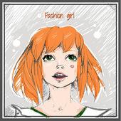 赤い髪の少女 — ストックベクタ