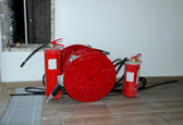 """Moscow, Russia, August 23, 2014, fire extinguishers located in the unfinished room of an office building """"Mebe One"""" — Stock Photo"""