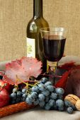 Still-life with glass of red wine, bottle and grapes — Stock Photo
