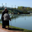 Moscow, Russia, April 27, 2014,Mature couple on a walk in the park — Stock Photo #55091481