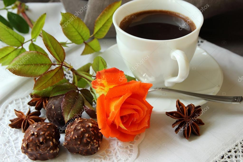 Открытка с добрым утром кофе и розы 605