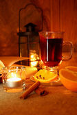 Hot mulled wine in the cup — Stock Photo